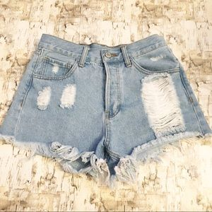 Brandy Melville High Waist Distressed Jean Short S